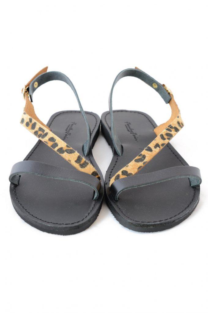Sandale piele naturala FUNKY STRIPES animal print | FUNKYFAIN
