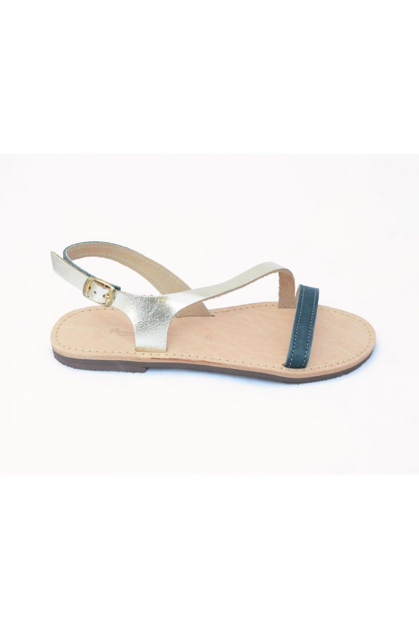 Sandale dama talpa joasa FUNKY STRIPES, bleumarin - auriu