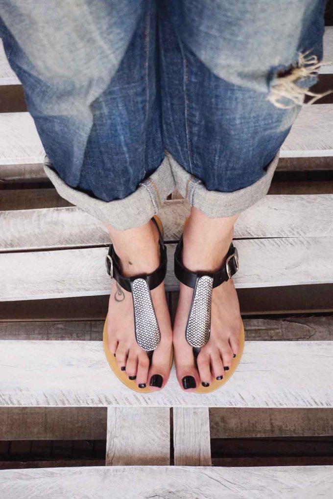 Sandale piele naturala talpa joasa FUNKY SILVER, negru