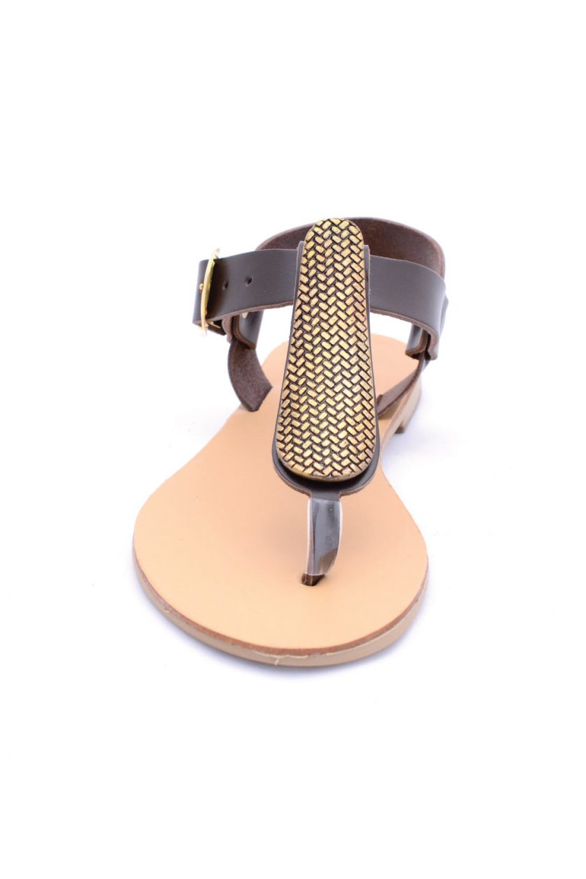 Sandale maro cu accesoriu auriu FUNKY GOLD