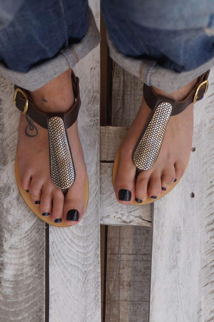 Sandale piele maro FUNKY GOLD