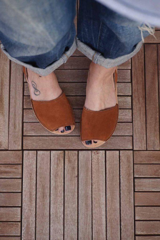 Sandale de dama din piele naturala FUNKY Q, maro