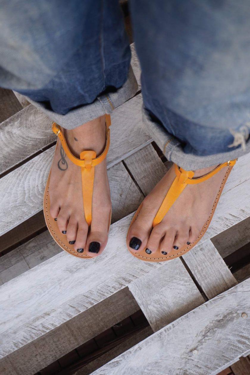 Sandale piele naturala FUNKY ALLNUDE, portocaliu