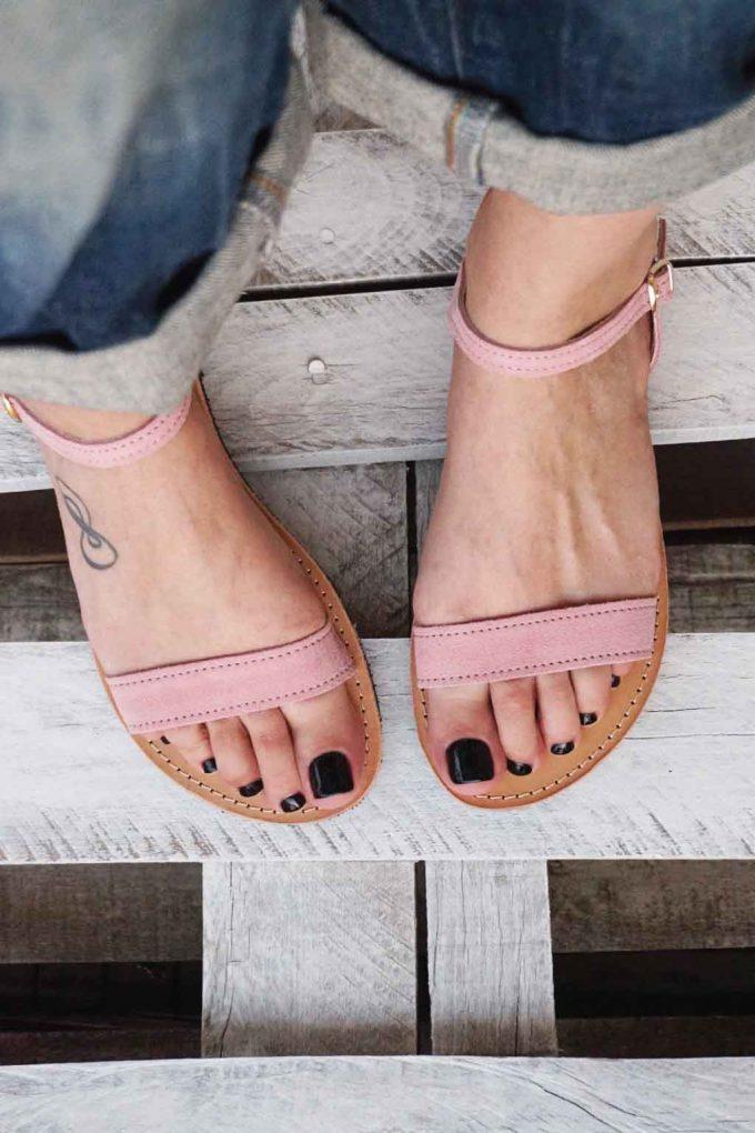 Sandale cu talpa joasa FUNKY CASUAL, nude - roz | FUNKYFAIN