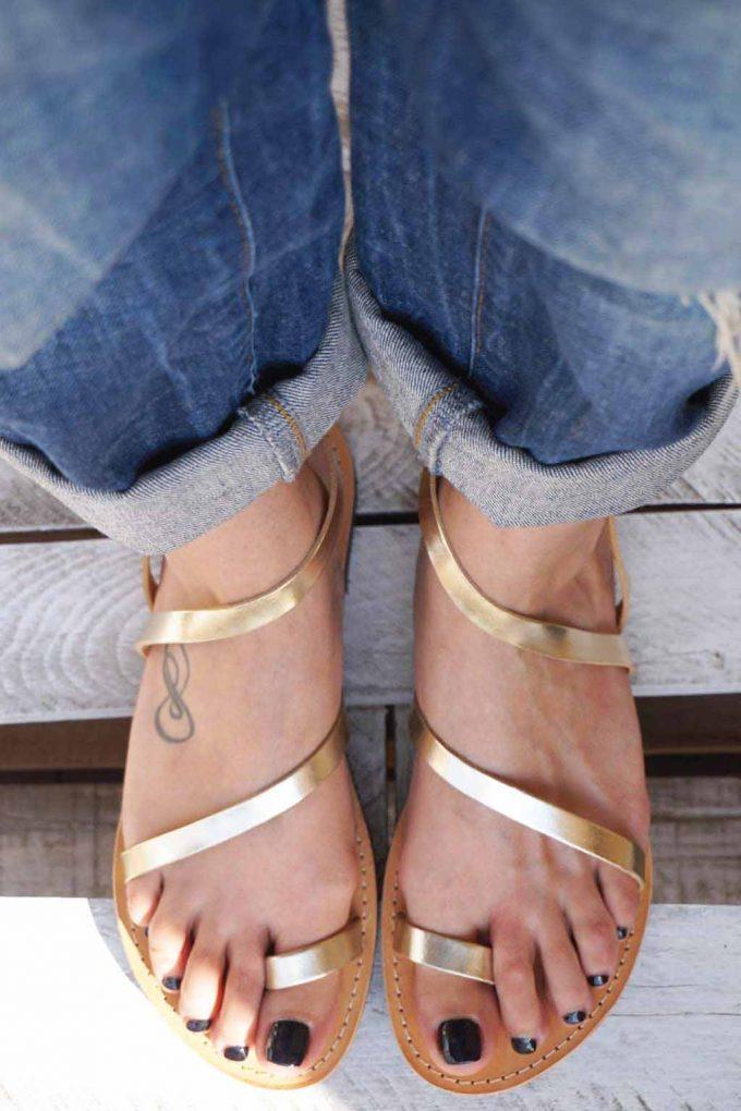 Sandale piele naturala FUNKY DAY, auriu | FUNKYFAIN