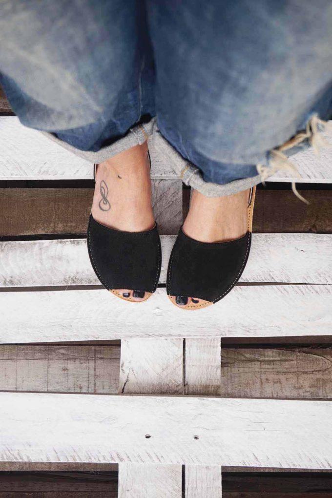 Sandale piele naturala FUNKY Q, negru | FUNKYFAIN