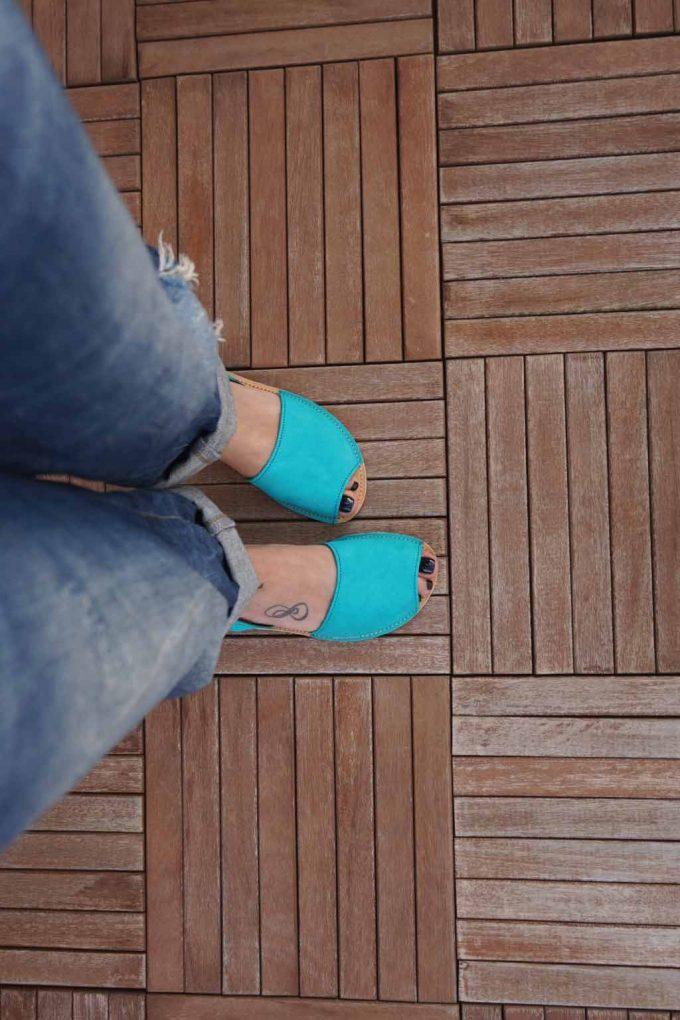 Sandale de dama din piele naturala FUNKY Q, turcoaz