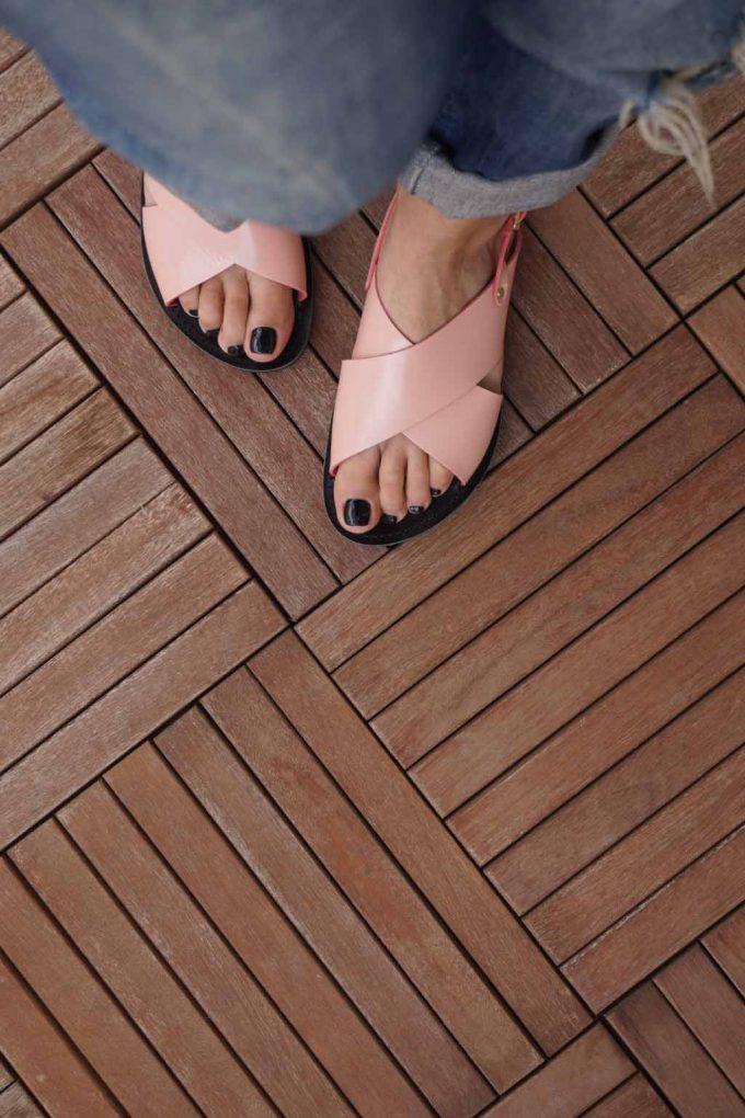 Sandale cu talpa joasa FUNKY X, roz | FUNKYFAIN