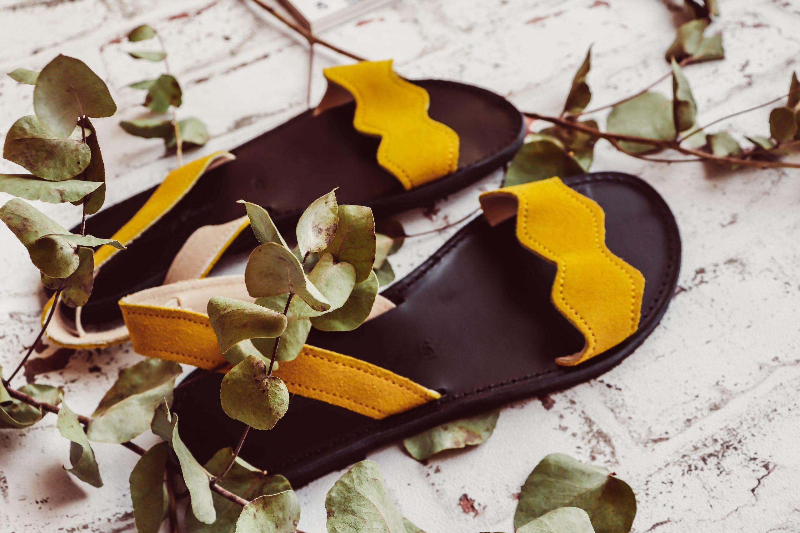Sandale damă piele naturală FUNKY VIBE, galben