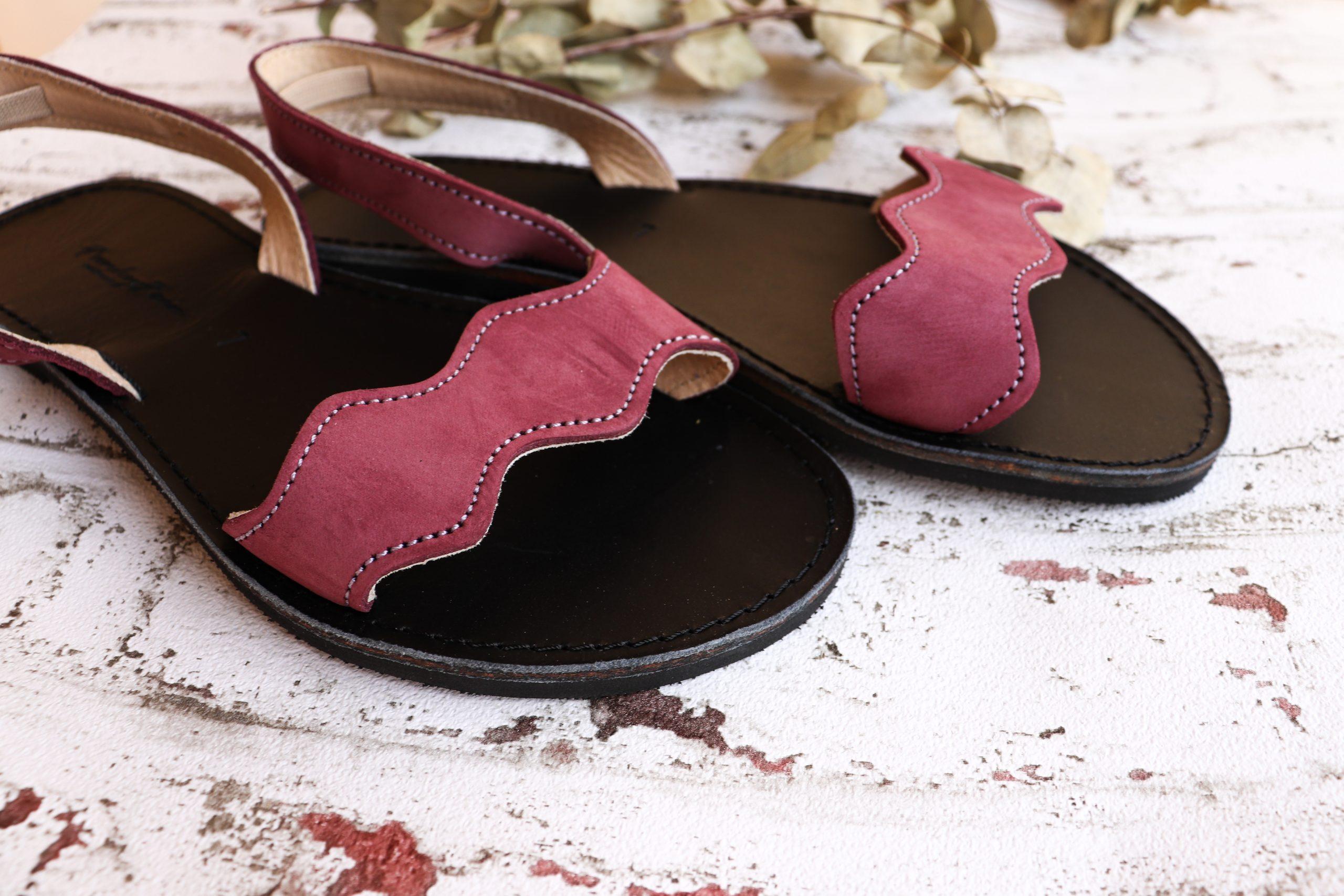 Sandale damă piele naturală FUNKY VIBE, vișiniu