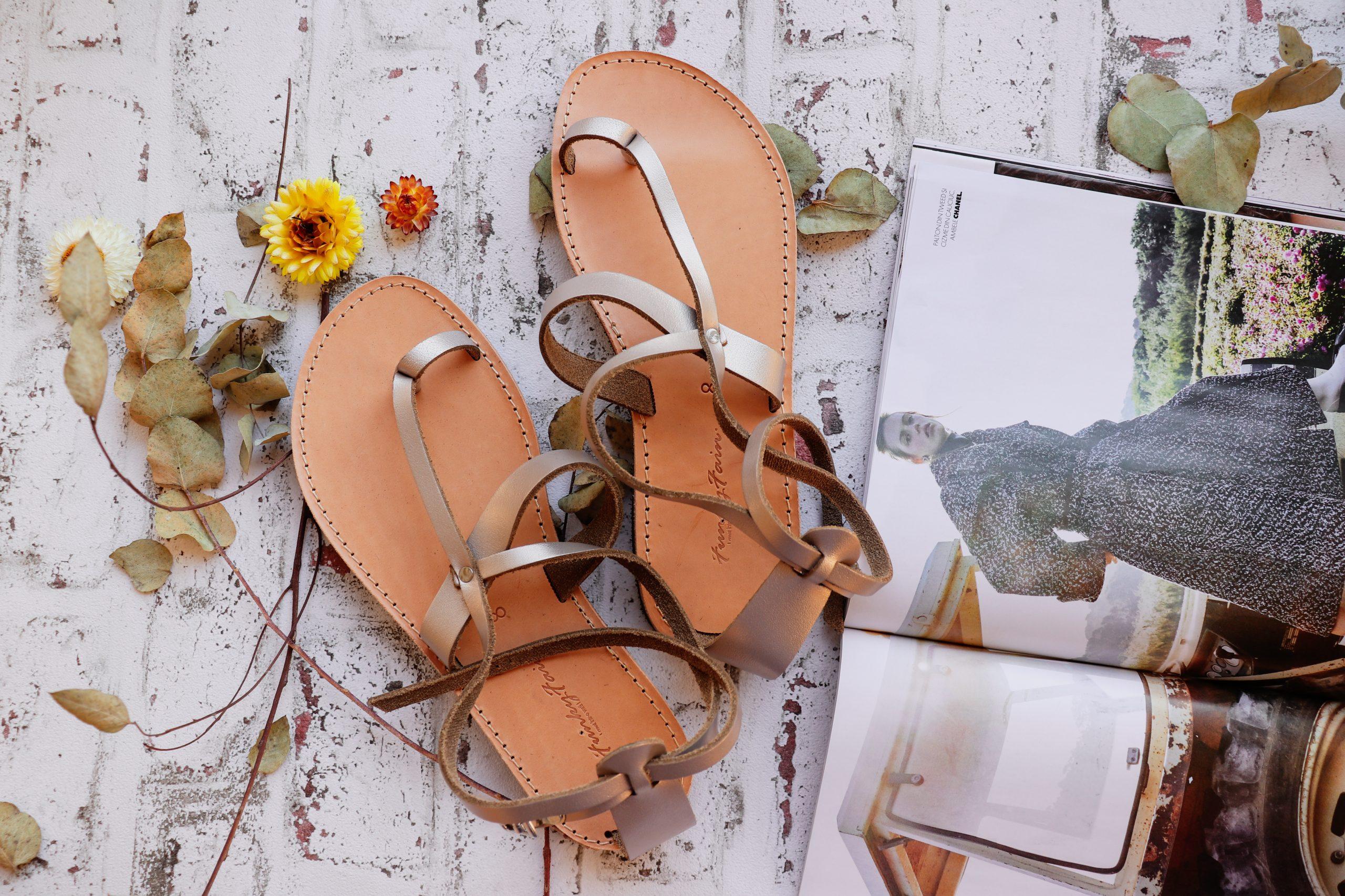Sandale damă piele naturală FUNKY TOUCH, grej metalic