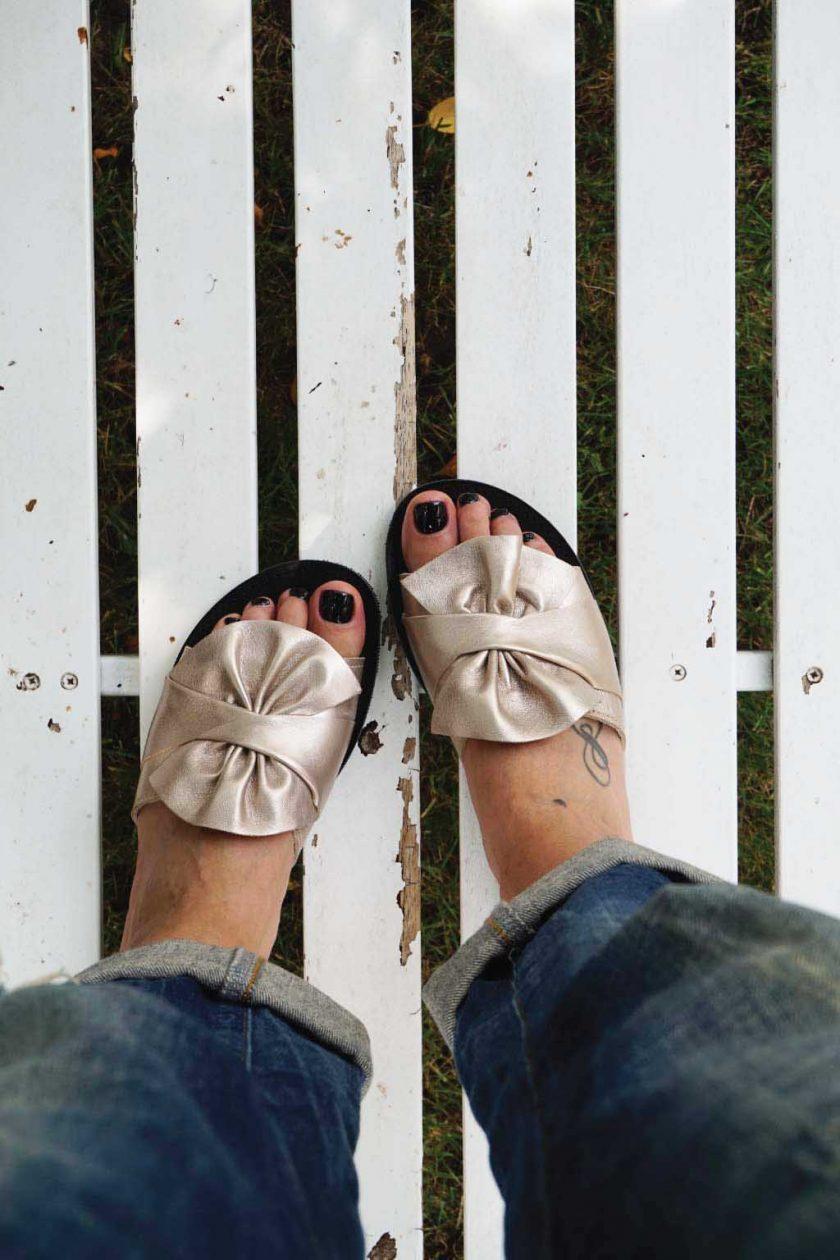 Papuci dama FUNKY INSTYLE, grej metalic