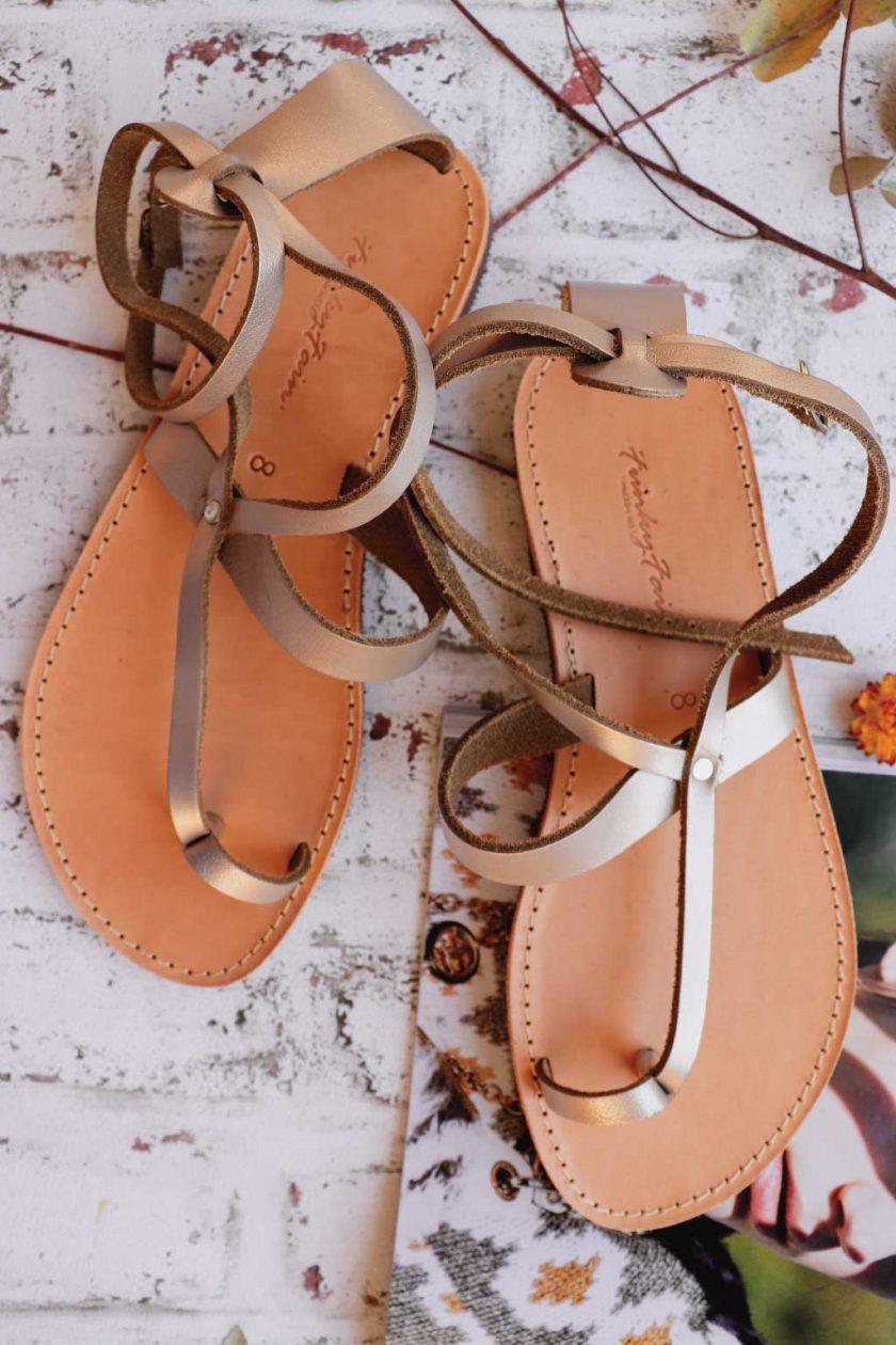 Sandale metalice piele naturala FUNKY TOUCH, grej