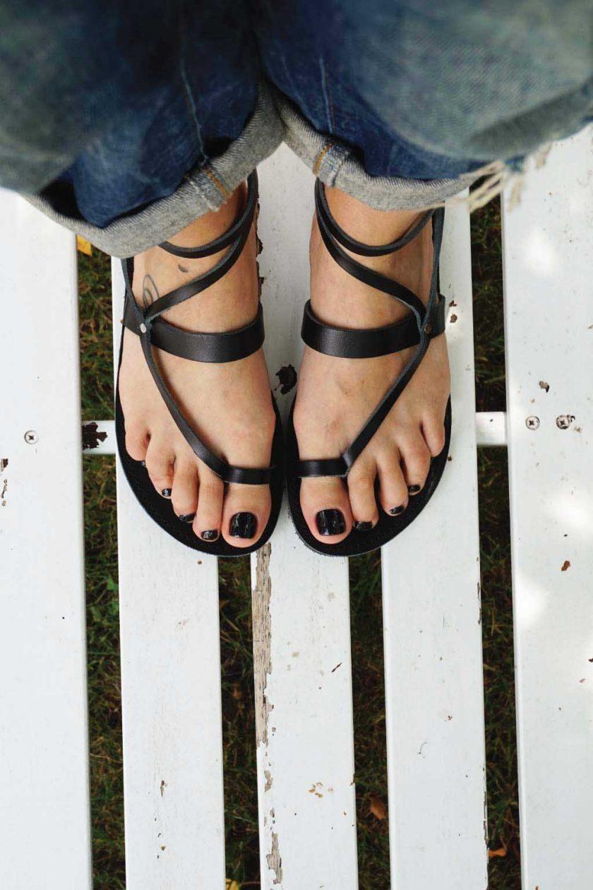 Sandale piele cu talpa joasa FUNKY TOUCH, negru