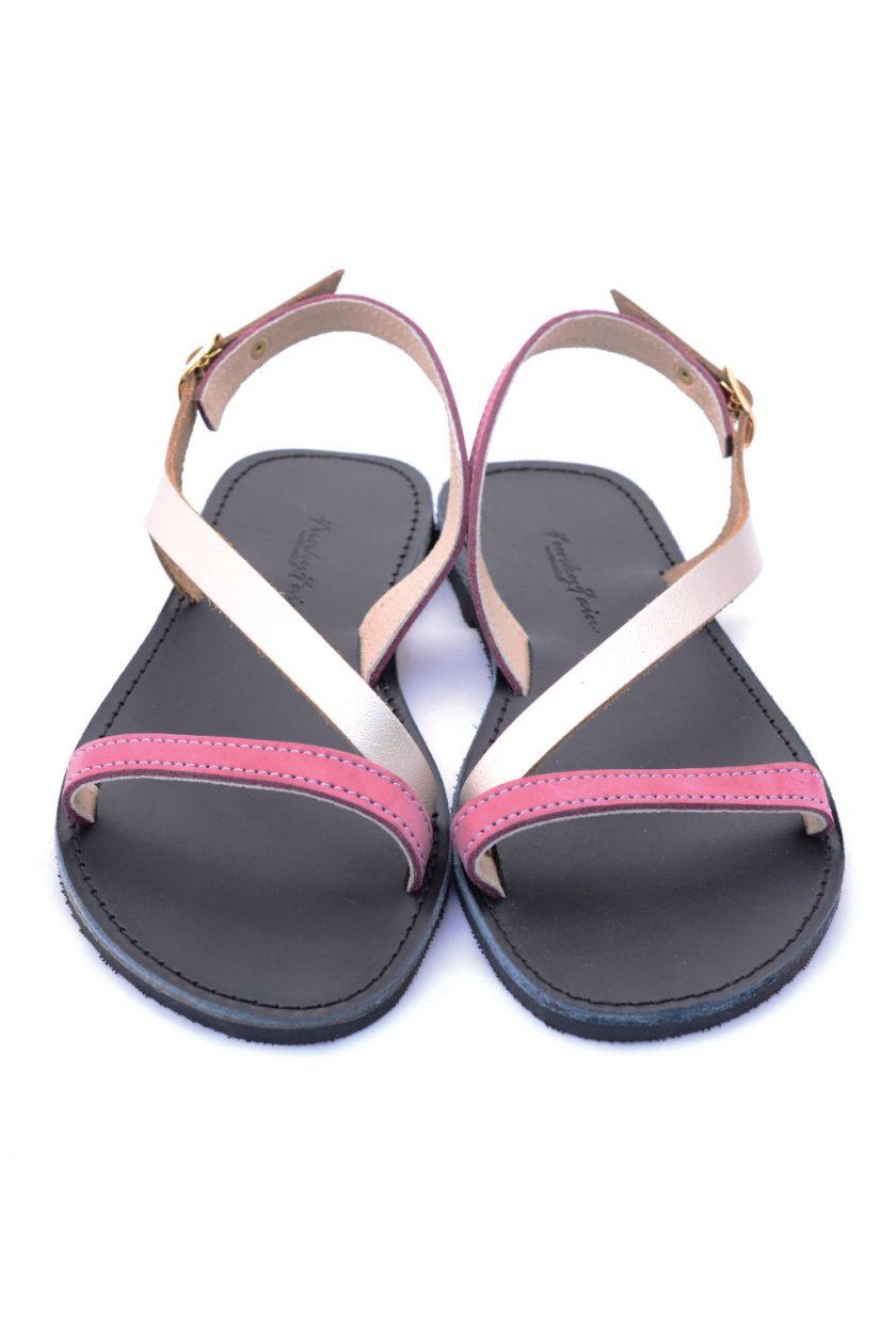 Sandale dama piele naturala FUNKY STRIPES, visiniu