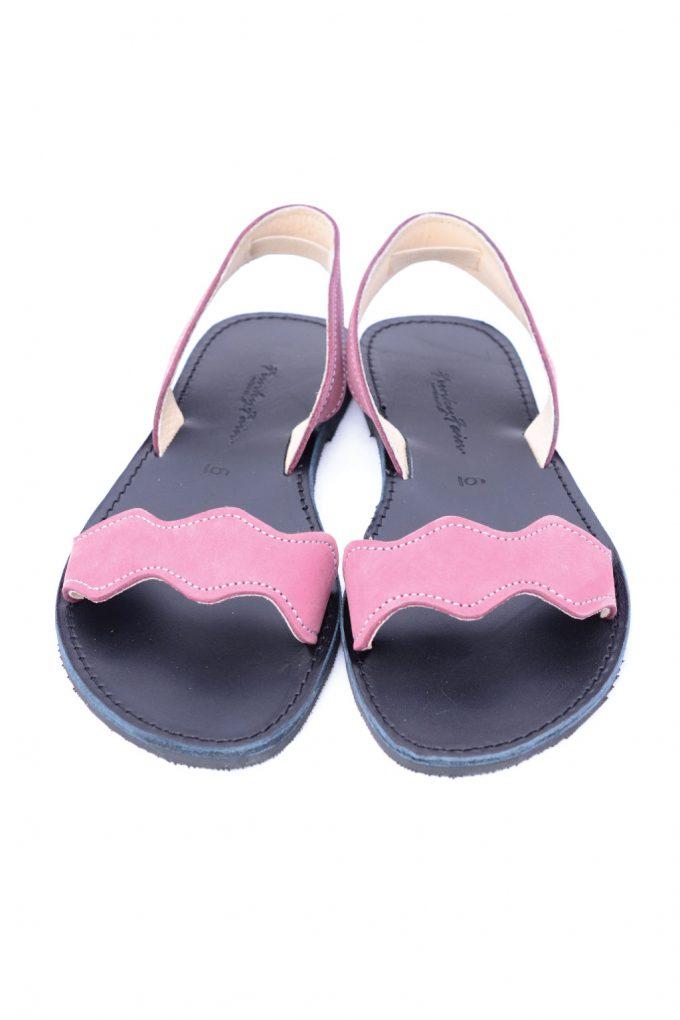 Sandale piele naturala nabuc FUNKY VIBE, visiniu