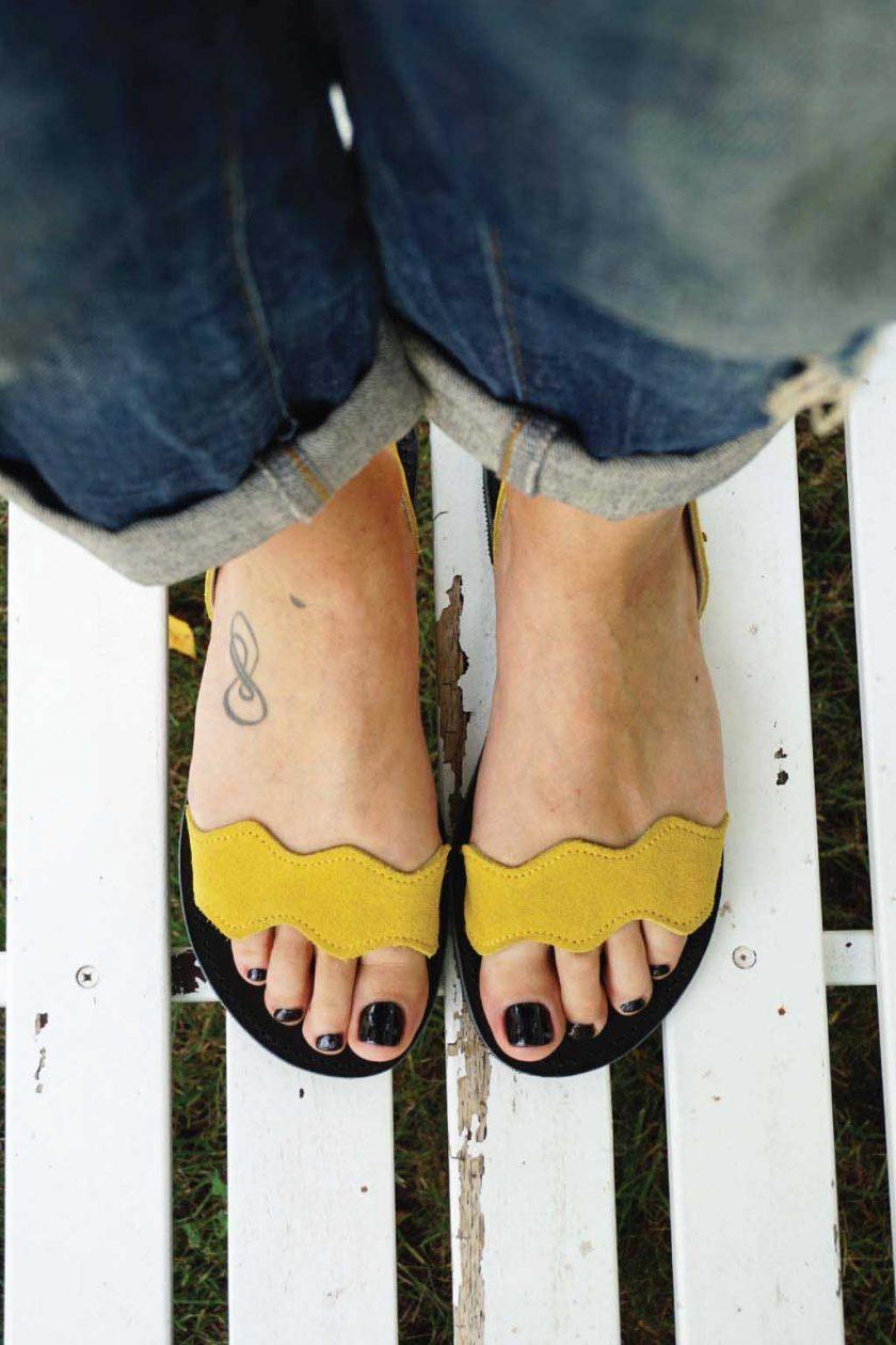 Sandale dama piele naturala FUNKY VIBE, galben