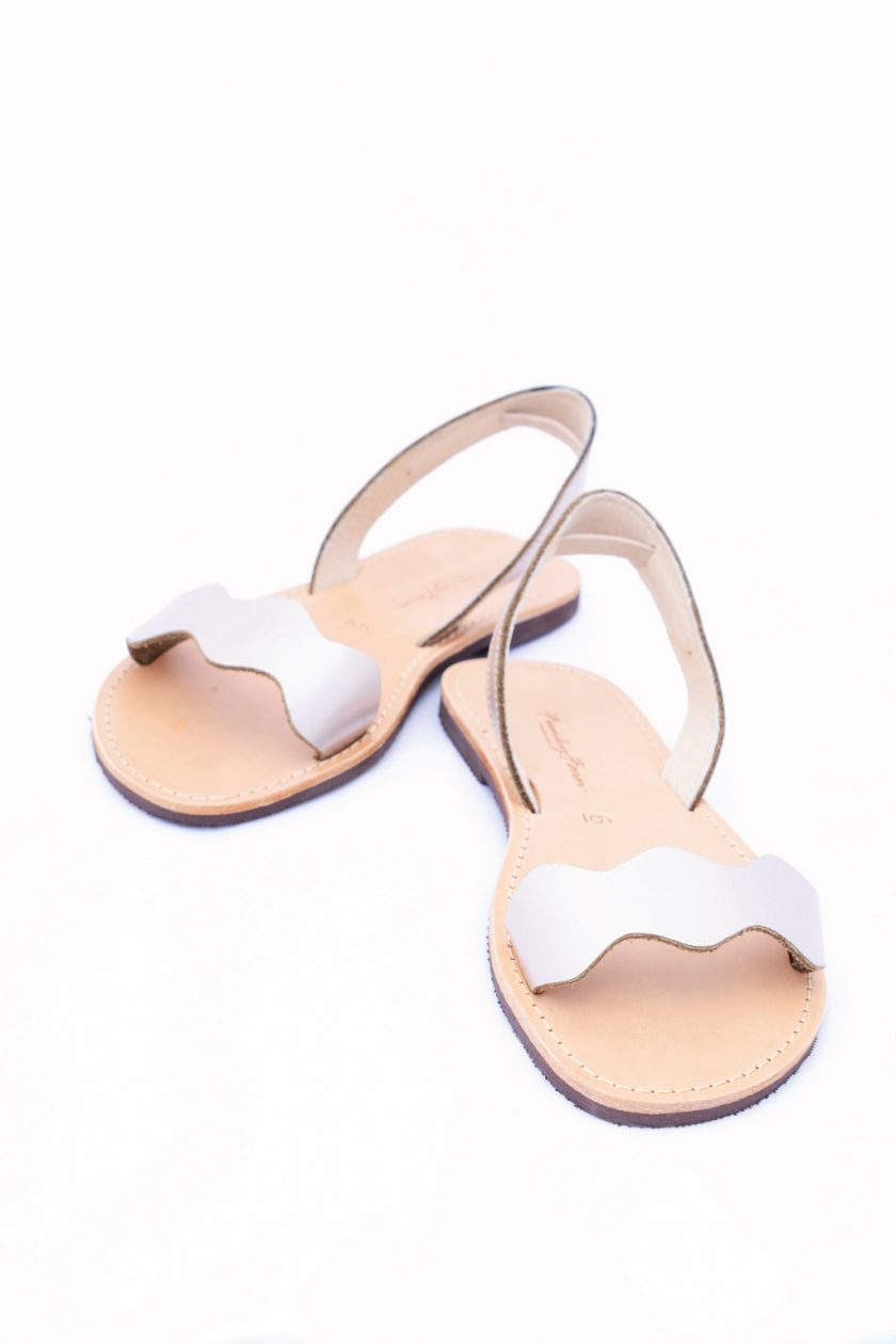 Sandale metalice din piele naturala FUNKY VIBE, grej