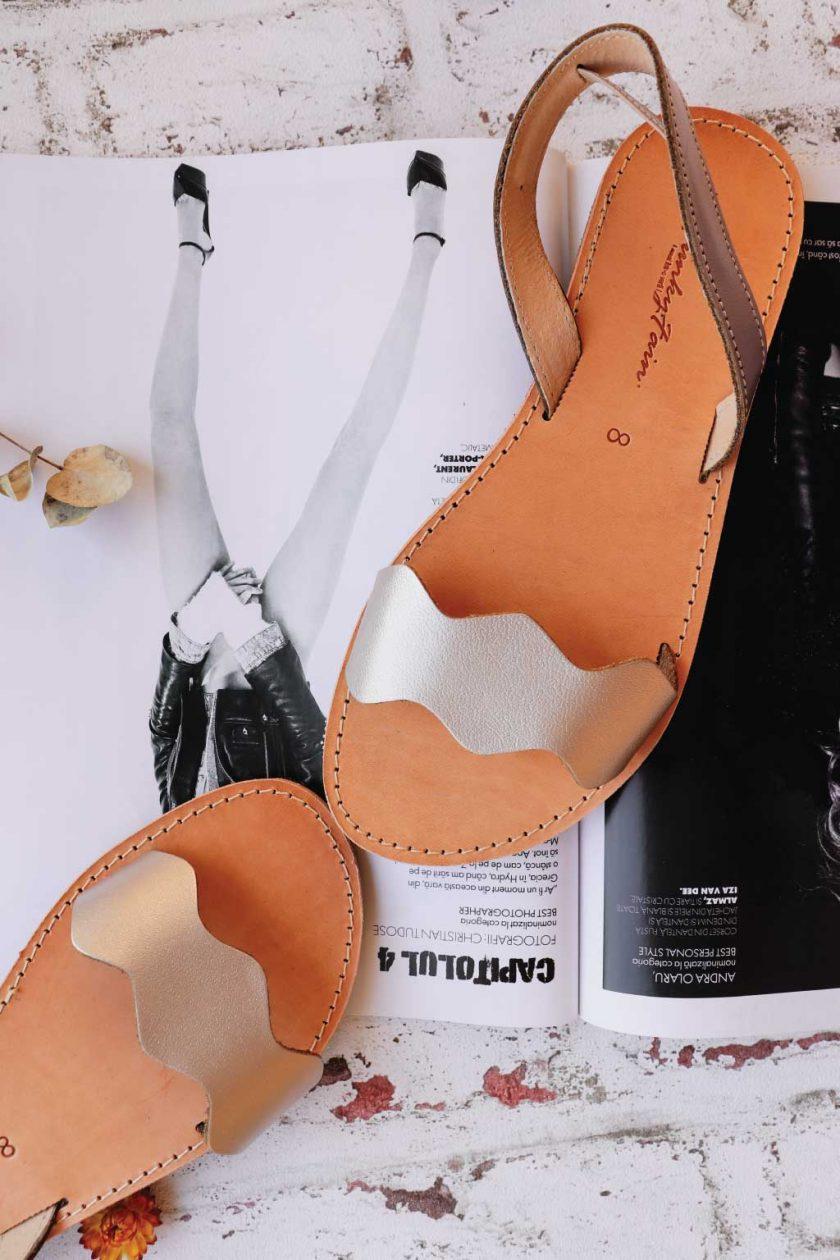 Sandale metalice piele naturala FUNKY VIBE, grej