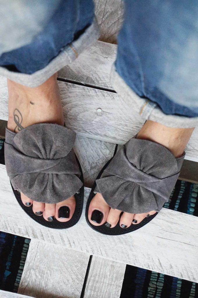 Papuci damă piele naturală FUNKY INSTYLE, gri