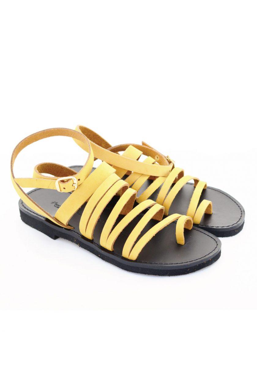 Sandale piele naturală FUNKY FIT, galben - muștar