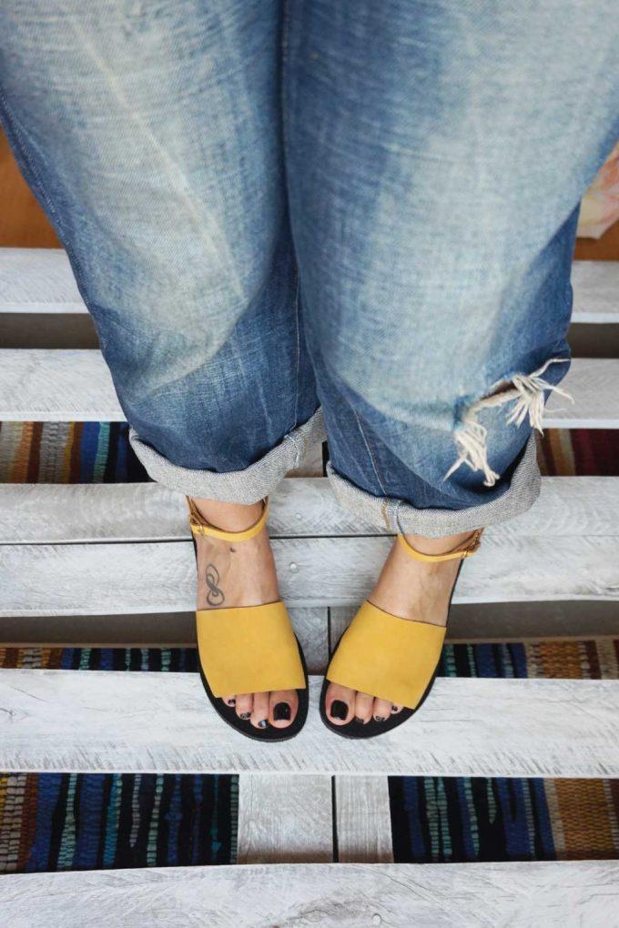 Sandale damă FUNKY WOMAN, galben - muștar